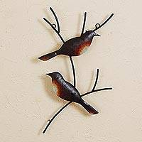 Steel wall art, 'Pair of Sparrows' - Handmade Metal Wall Art of Birds on Branches