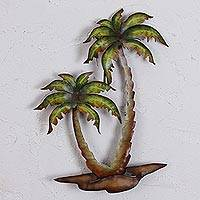 Steel wall art, 'Twin Palms' - Hand Crafted Palm Tree Steel Wall Art from Mexico