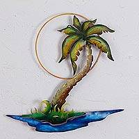 Steel wall art, 'Swaying Palm' - Hand Painted Metal Wall Art of Palm Tree and Beach