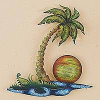 Steel wall sculpture, 'Tropical Evening' - Handcrafted Palm Tree Steel Wall Sculpture from Mexico