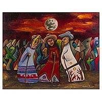 'The Little Old Men' - Colorful Oil Painting of Michoacan Old Men Dancers