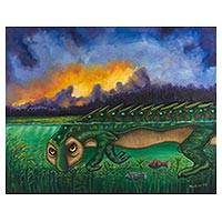 'King of the Lake' - Alligator Guardian Surreal Landscape Painting from Mexico