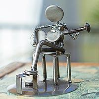 Auto part sculpture, 'Rustic Guitar Serenade' - Rustic Auto Part Eco-Friendly Sculpture of a Guitarist