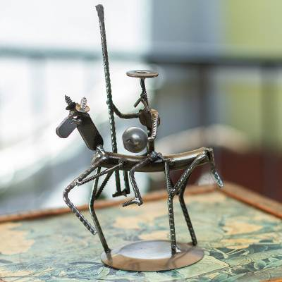 Recycled metal sculpture, 'Quixote on the Way' - Rustic Recycled Metal Eco-Friendly Sculpture of Quixote