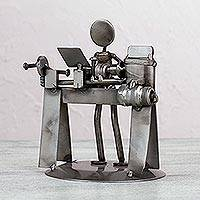 Auto part sculpture, 'Rustic Lathe Operator' - Eco Friendly Rustic Lathe Operator Auto Part Sculpture