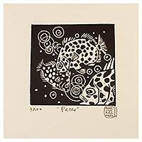 'Fish' - Mexico Sea Life 4-Inch Signed Linoleum Block Print