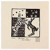 'Hares in the Night' - Mexico 4-Inch Signed Linoleum Block Print of Hares