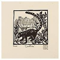 'Coatimundi' - Mexico 4-Inch Signed Linoleum Block Print of a Coatimundi