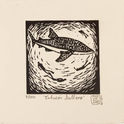 'Whale Shark' - Signed 4-Inch Linoleum Block Print of a Whale Shark