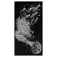 'Mermaid Who Fell in Love with the Jellyfish' - Mermaid and Jellyfish Signed Linoleum Block Print