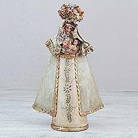 Papier mache sculpture, 'Crowned Nun Sister Serenity' - Handcrafted Christian Art Sculpture of a Crowned Nun
