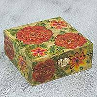 Wood decorative box, 'Vermilion Garden' - Hand Painted Floral Decorative Box in Yellow and Aurora Red