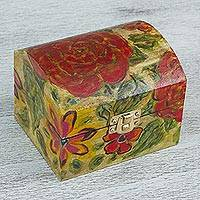 Wood decorative box, 'Trunk Flowers' - Hand-Painted Floral Pinewood Decorative Box from Mexico