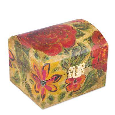 Hand Painted Floral Pinewood Decorative Box From Mexico