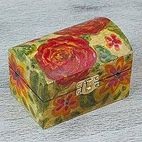 Wood decorative box, 'Little Secrets' - Artisan Handcrafted Floral Decorative Box in Aurora Red