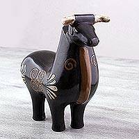 Ceramic sculpture, 'Brown Bull' - Handcrafted Brown Ceramic Bull Sculpture from Mexico