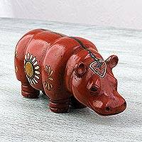 Ceramic sculpture, 'Crimson Hippo' - Ceramic Hippo Sculpture Painted Crimson from Mexico