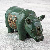 Ceramic sculpture, 'Myrtle Green Rhino' - Ceramic Rhino Sculpture in Myrtle Green from Mexico