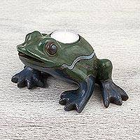 Ceramic tealight holder, 'Brilliant Frog' - Handcrafted Ceramic Frog Tealight Holder from Mexico