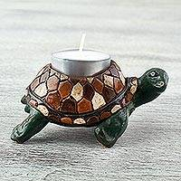 Ceramic tealight holder, 'Luminous Tortoise' - Handcrafted Ceramic Tortoise Tealight Holder from Mexico