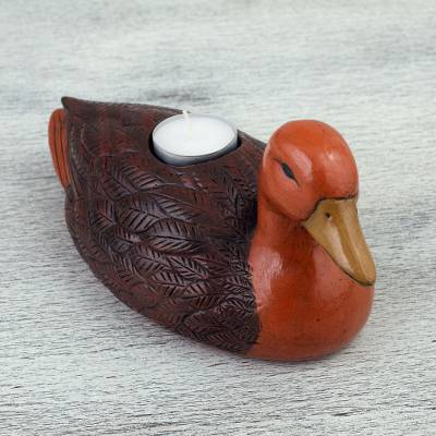 Ceramic tealight holder, 'Brown Duck' - Handcrafted Ceramic Duck Tealight Holder from Mexico