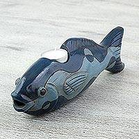 Ceramic tealight holder, 'Wavy Fish' - Handcrafted Ceramic Fish Tealight Holder from Mexico