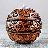 Ceramic tealight holder, 'Solar Brilliance' - Handcrafted Spherical Ceramic Tealight Holder from Mexico