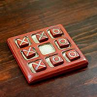 Ceramic tic-tac-toe board, 'Burnished Challenge' - Burnished Ceramic Tic-Tac-Toe Board from Mexico