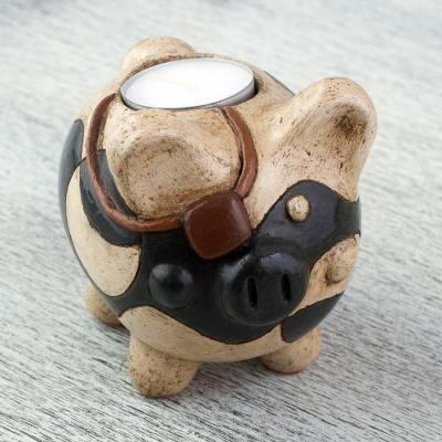 Ceramic tealight holder, 'Pirate Pig' - Handcrafted Ceramic Pig Tealight Holder from Mexico