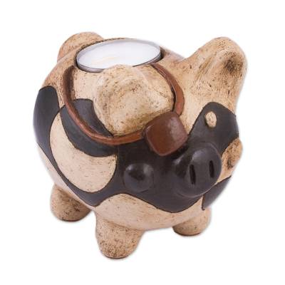 Handcrafted Ceramic Pig Tealight Holder from Mexico