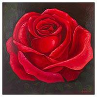 'Red Rose' - Signed Original Realistic Painting of a Red Rose