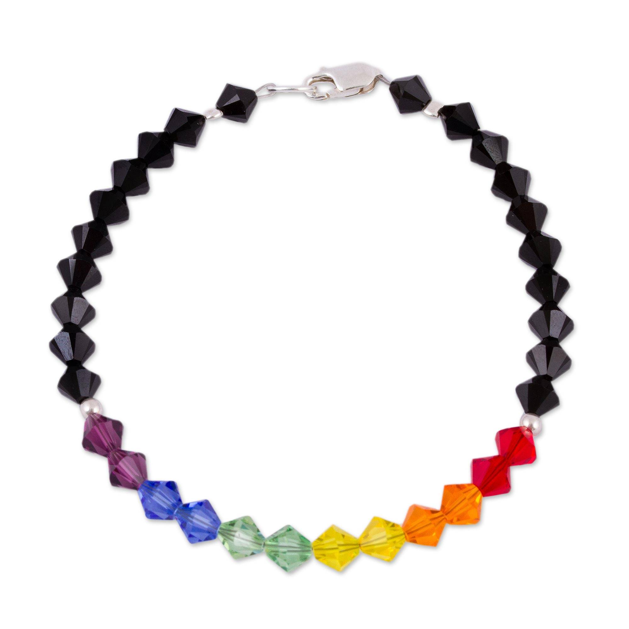 Rainbow Colored Swarovski Crystal Bracelet Colors Of Pride