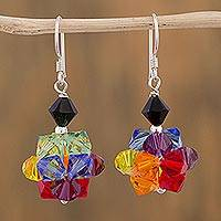Swarovski crystal beaded dangle earrings, 'Colors of Pride' - Multicolored Swarovski Crystal Dangle Earrings