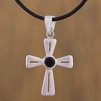 Sterling silver pendant necklace, 'Radiant Cross' - Handcrafted Sterling Silver Cross Necklace on Black Leather