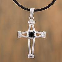 Sterling silver pendant necklace, 'Geometric Cross' - Handcrafted Black Leather and Sterling Silver Cross Necklace