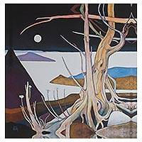 Giclee print on canvas, 'Tree in the Moonlight' - Surreal Moonlight Landscape Giclee Print on Canvas Mexico
