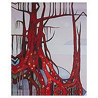 Giclee print on canvas, 'Red Tree with Golden Roots' - Color Giclee Print on Canvas of a Red Tree from Mexico