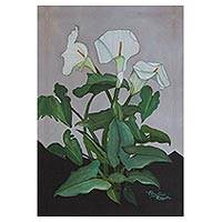 Giclee print on canvas, 'Lilies' - Stylized Calla Lily Giclee Print on Canvas from Mexico