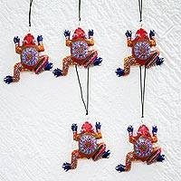 Wood alebrije ornament, 'Colorful Frogs' (set of 5)