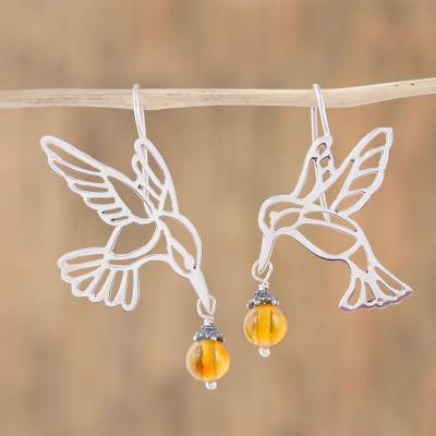 Copal dangle earrings, Flight of the Hummingbird