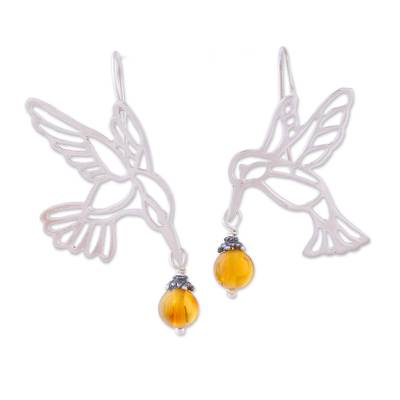Copal dangle earrings, 'Flight of the Hummingbird' - Copal and Sterling Silver Hummingbird Earrings from Mexico