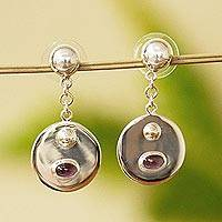 Garnet dangle earrings, 'Reflecting Circles' - Sterling Silver and Garnet Dangle Earrings from Mexico