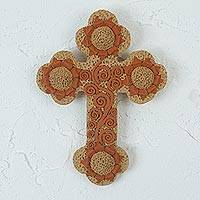 Ceramic wall cross, 'Sacred Flowers' - Handcrafted Sunflower Motif Ceramic Wall Cross from Mexico