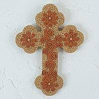 Ceramic wall cross, 'Margarita Faith' - Margarita Flower Motif Ceramic Wall Cross from Mexico