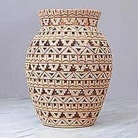 Decorative ceramic vase, 'Novel Tradition' - Hand Crafted Decorative Ceramic Vase from Mexico