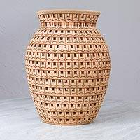 Decorative ceramic vase,  'Ancestral Lineage' - Mexican Handmade Symmetrical Design Decorative Ceramic Vase