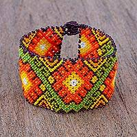 Glass beaded wristband bracelet, 'Huichol Tradition' - Handcrafted Glass Beaded Wristband Bracelet from Mexico