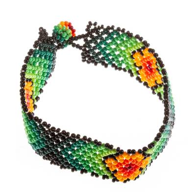 Floral Glass Beaded Wristband Bracelet in Green from Mexico