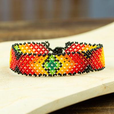 Novica Glass beaded wristband bracelet, Chavelas Colors