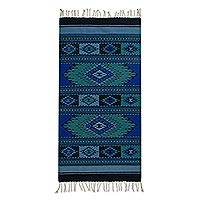 Zapotec wool rug, 'Blue Oaxaca Skies' (2.5x5) - Artisan Crafted Sky Blue Zapotec 100% Wool Rug from Oaxaca